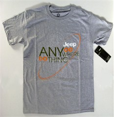 Go Anywhere Do Anything Jeep Topographical Map Tee, Grey