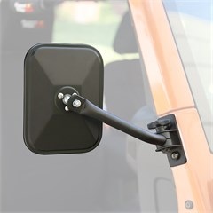 Quick Release Rect Side Mirror Wrangler 1997-2018 Txtrd Blk Pair