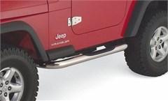 Rampage Side Guards w/Step-Jeep Wrangler YJ, TJ-Stainless Steel
