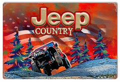 "Red Jeep Country Winter Scene Metal Sign, 12""x18"""