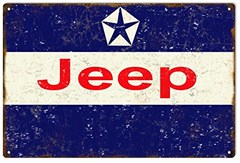 "Reproduction Aged Jeep Logo Metal Sign, 12""x18"""