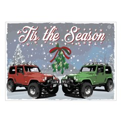 Christmas Cards featuring a Red Cherokee Jeep