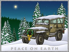 """Military Jeep """"Peace on Earth"""" Holiday Cards"""