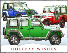 Holiday Wishes + 3 Jeeps Holiday Cards
