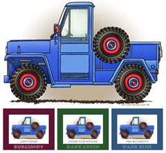 """Little Wheelers """"Blue Pick-Me-Up Truck""""  Matted Personalized Print"""