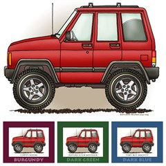 """Little Wheelers """"Red Rugged Rocker"""" Matted Personalized Print"""