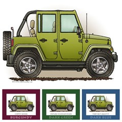 """Little Wheelers """"Green Monster"""" Matted Personalized Print"""