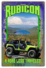 "Road Less Traveled Green JK Jeep Metal Sign, 12""x18"""