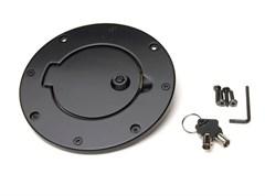 Billet Style Gas Door Cover w/Lock & Key Wrangler 2007-2017 Black