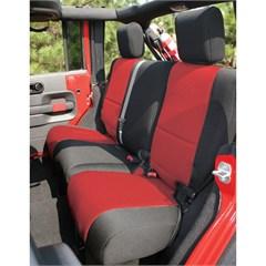 Seat Cover Wrangler JK 4D 2007-2018 Rear Black & Red Rugged Ridge