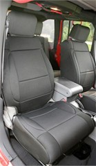 Black Front Seat Cover with ABS Flap for Jeep Wrangler JK (2007-2010)