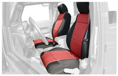 Black/Red Front Neoprene Seat Covers for Jeep Wrangler JK 2007-2010 w/ABS