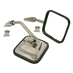 Stainless Side Mirror Pair, Jeep CJ -Convex Passenger Side Glass
