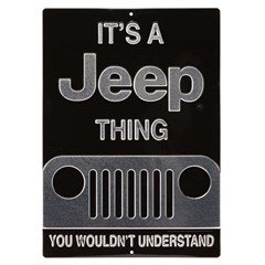 Silver+Black It's a Jeep Thing Embossed Tin Sign