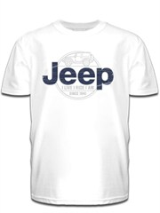 All Things Jeep Blue Jeep Logo Jeep Wrangler JK Mens White - Jeep logo t shirt
