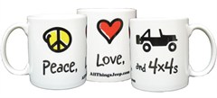 Peace, Love & 4x4 Coffee Mug by AllThingsJeep
