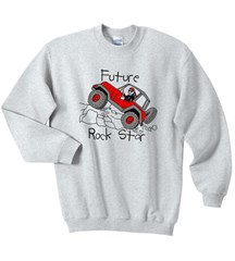 Closeout - Future Rock Star Sweatshirt, Grey, for Jeep Kids - Medium Only