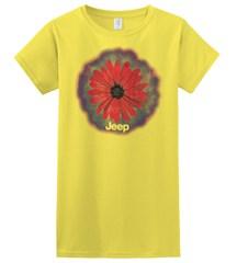 Big Red Daisy / Jeep Logo, Yellow Junior's Tee, Short Sleeve