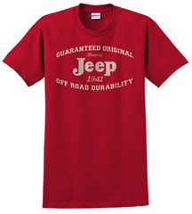 Guaranteed Original Jeep Red Tee-Shirt for Guys