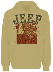 Closeout: Medium Only Jeep Hooded Sweatshirt, Go Anywhere Do Anything, Sand