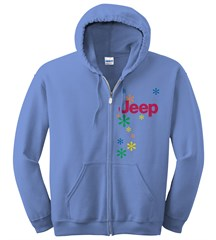 Closeout: Small Only Women's Jeep Zippered Hoodie Sweatshirt - Daisies on Blue Fleece