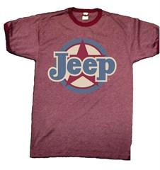 Classic Jeep Star Emblem, Men's Heathered Maroon Ringer Tee