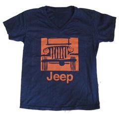 Jeep Grille Logo Ladies V-Neck S/S T-Shirt (Orange on Blue)