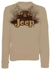 "CLOSEOUT -(Large Only) - Jeep Crewneck Sweatshirt ""Mudbogging Jeep"" Tan Fleece"