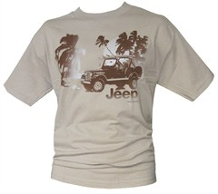 "CLOSEOUT - Jeep ""Beach Scene with CJ-7 Laredo"" Khaki Men's Tee"