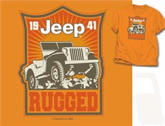 CLOSEOUT - Jeep Rugged 1941 Men's Orange Tee (Willys Jeep)