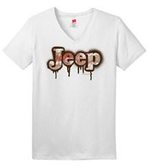 Muddy Spray Painted Jeep Logo Women's V-Neck Tee