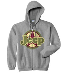 Jeep Star Hooded Grey Zip-Up Sweatshirt