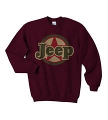 Traditional Jeep Star Sweatshirt, Kid's Crewneck, Burgundy