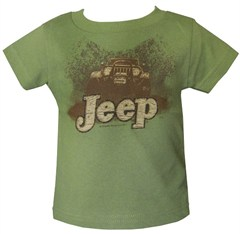 """Short Sleeve """"Jeep in Mud Puddle"""" Infant Shirt in Olive or Pink"""