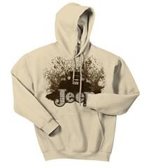 """""""Mudbogging Jeep"""" Men's Fleece Hooded Sweatshirt, Tan"""