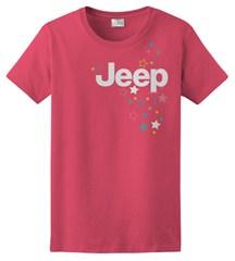CLOSEOUT - Women's Jeep Logo & Stars Red Short Sleeve Shirt, Juniors Cut