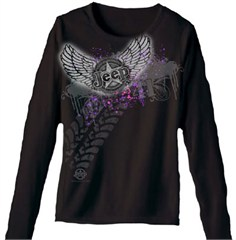 Women's Long Sleeve Black Jeep Shirt with Jeep Wings + Tire Tracks