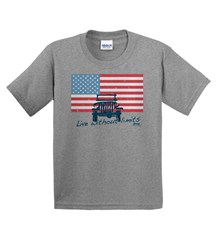 """Closeout - Jeep """"American Flag / Live without Limits"""" YOUTH  Grey T-Shirt"""