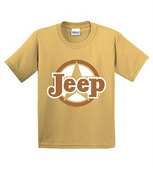 CLOSEOUT(L & XL)-Classic Jeep Star Gold Youth Short Sleeve Shirt