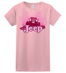 Closeout - (XL only) Mud Bogging / Mud Flying Jeep  Pink Girls Tee Shirt, YOUTH