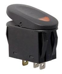 2 Position Rocker Switch-Black w/Amber Indicator Light,Universal