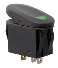 2 Position Rocker Switch-Black w/Green Indicator Light,Universal