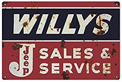 "Willys Jeep Sales and Service Reproduction 12""x18"""
