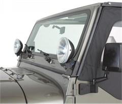 Windshield Hinge Light Brackets, 97-06 Jeep Wrangler, Stainless