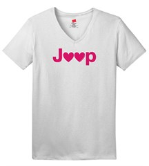 Jeep Hearts Women's V-neck T-Shirt, White