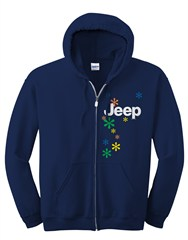 Closeout: Small Only, Zippered Hoodie, Jeep and Daisies, Women's, Navy Blue