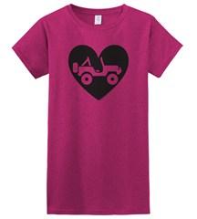 """""""Heart Wrangler"""" Juniors Short Sleeved Shirt in Fuschia"""