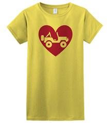 """""""Heart Wrangler"""" Juniors Short Sleeved Shirt in Yellow"""