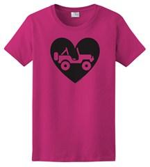 """""""Heart Wrangler"""" Womens Short Sleeved Shirt in Hot Pink"""