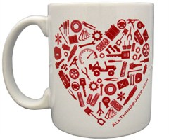 red and white valentines day coffee mug